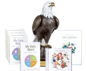 Determined Eagle Bronze / The Garden CD and DVD / My Daily Word Devotional Set